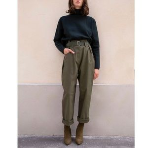 NWT Frankie Shop olive paperbag cotton pants